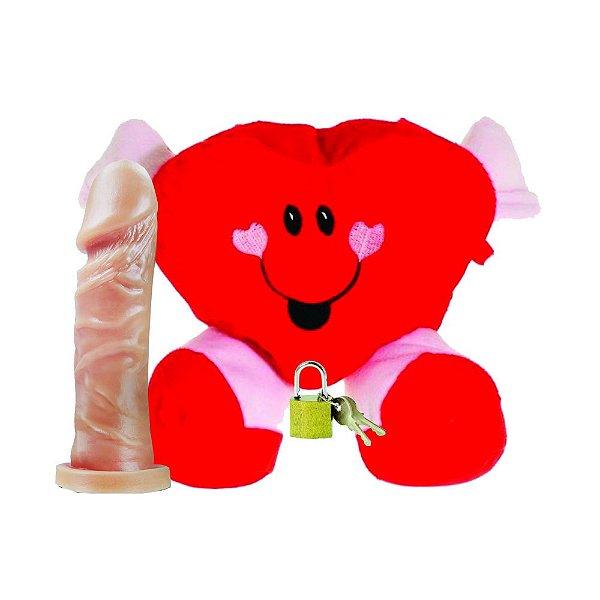 Coração de Pelúcia - Compartimento Secreto + Pênis