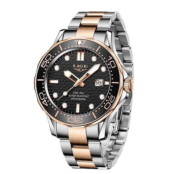 Relógio Masculino Lige 8936 Pulseira de Aço Inoxidável