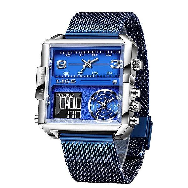 Relógio Quadrado Analógico e Digital de Quartzo LG8925