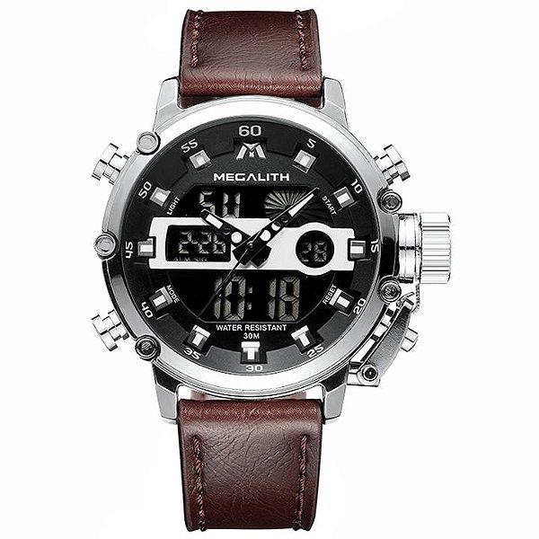 Relógio Megalith 8051 Pulseira de Couro