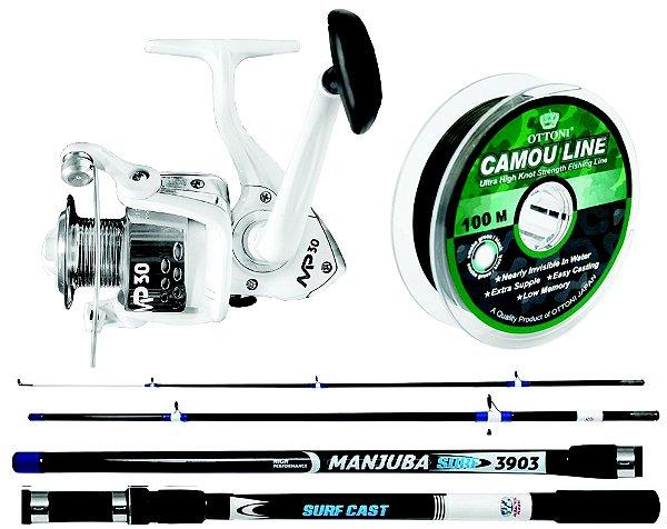 Kit para Pesca de Praia Albatroz - Vara Manjuba 3,35 mt + Molinete MP60 Grande