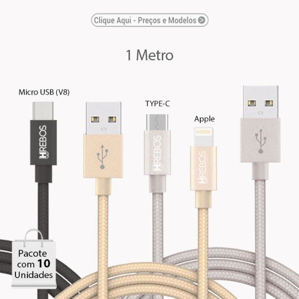 Cabo USB NYLON (Apple / Micro USB (V8)/ TYPE-C). Comprimento de 1M