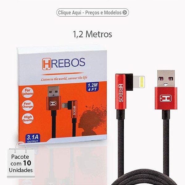 Cabo USB TECIDO TURBO 3.1A  c/ Plug lateral (Apple / Micro USB (V8)/ TYPE-C). Comprimento de 1M.