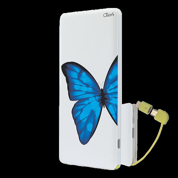 56001716e Power Bank Personalizado Branco - BORBOLETA AZUL 3. (FRETE GRÁTIS ...