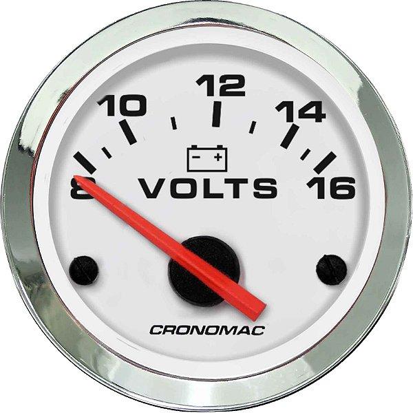 Voltímetro ø52mm 12 Volts Cromado/Branco   Cronomac