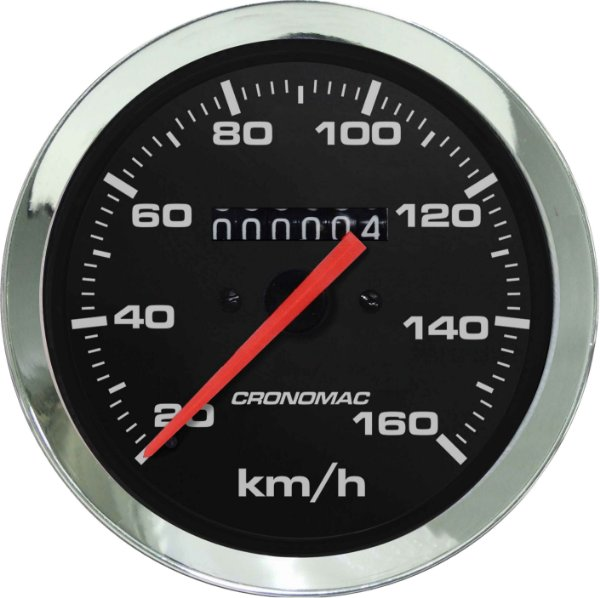 Velocímetro 160km/h ø85mm Cromado/Preto   Cronomac