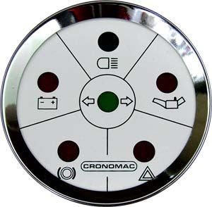 Sinaleira de Funções ø52mm Cromado/Branco   Cronomac
