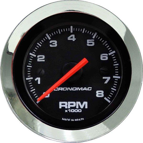 Contagiro 8000RPM ø52mm 2/4/6/8 Cil Cromado/Preto | Cronomac