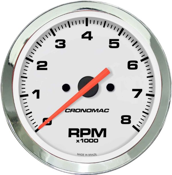 Contagiro 8000RPM ø85mm 2/4/6/8 Cil Cromado/Branco | Cronomac