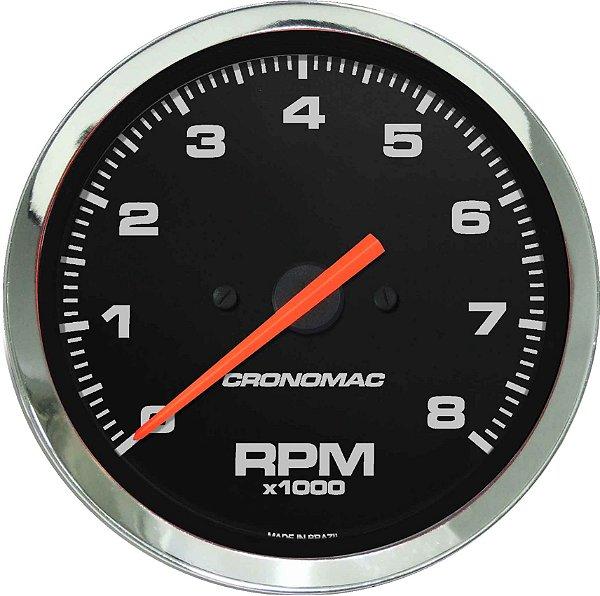 Contagiro 8000RPM ø85mm 2/4/6/8 Cil Cromado/Preto | Cronomac