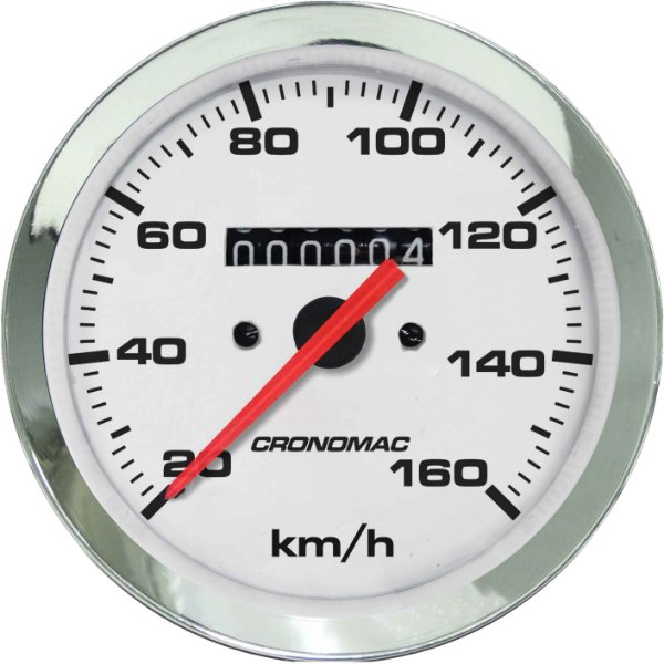 Velocímetro 160km/h ø100mm Cromado/Branco | Cronomac