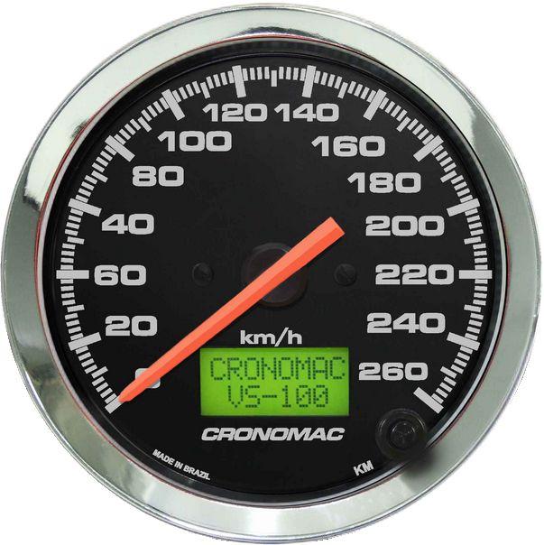 Velocímetro 260km/h ø100mm Eletrônico Cromado/Preto   Cronomac