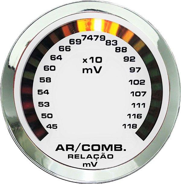 Hallmeter 52mm Milivolt Cromado Branco| Cronomac