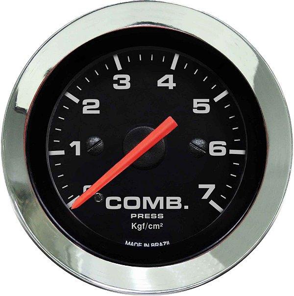 Manômetro Combustível 7KGF/CM² ø52mm Cromado/Preto | Cronomac