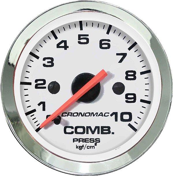 Manômetro Combustível 10KGF/CM² ø52mm Cromado/Branco  Cronomac