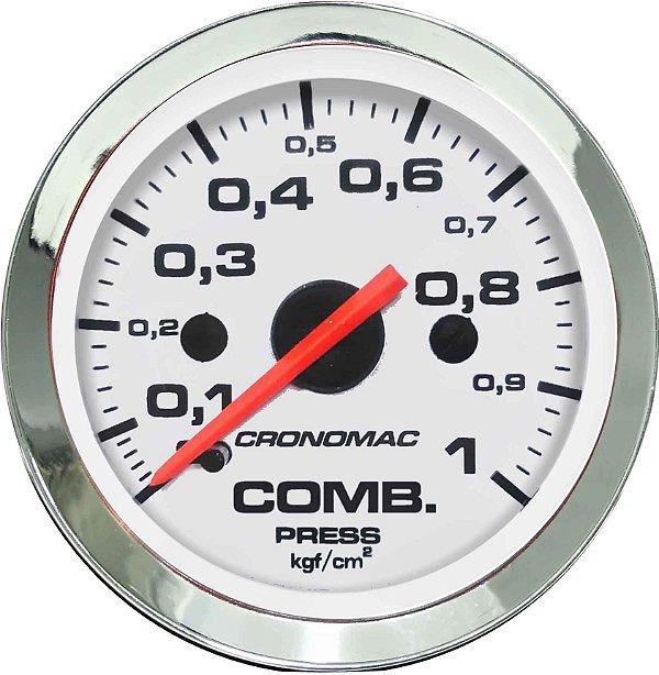 Manômetro Combustível 1KGF/CM² ø52mm Cromado/Branco  Cronomac