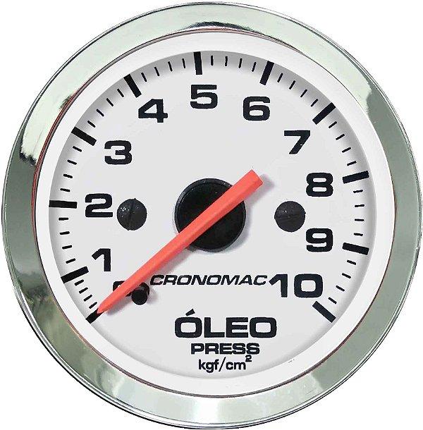 Manômetro Óleo 10KGF/CM² Mecânico ø52mm Cromado/Branco | Cronomac