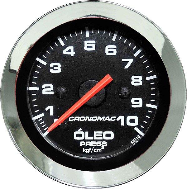Manômetro Óleo 10KGF/CM² Mecânico ø52mm Cromado/Preto | Cronomac