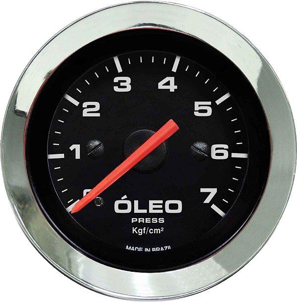 Manômetro Óleo 7KGF/CM² Mecânico ø52mm Cromado/Preto   Cronomac
