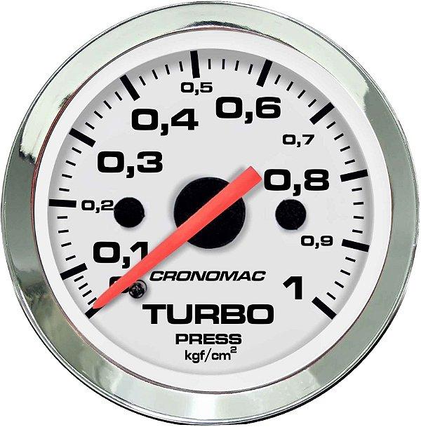 Manômetro Turbo 1KGF/CM² ø52mm Cromado/Branco | Cronomac