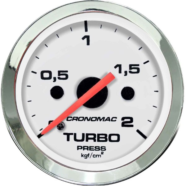 Manômetro Turbo 2KGF/CM² ø52mm Cromado/Branco | Cronomac