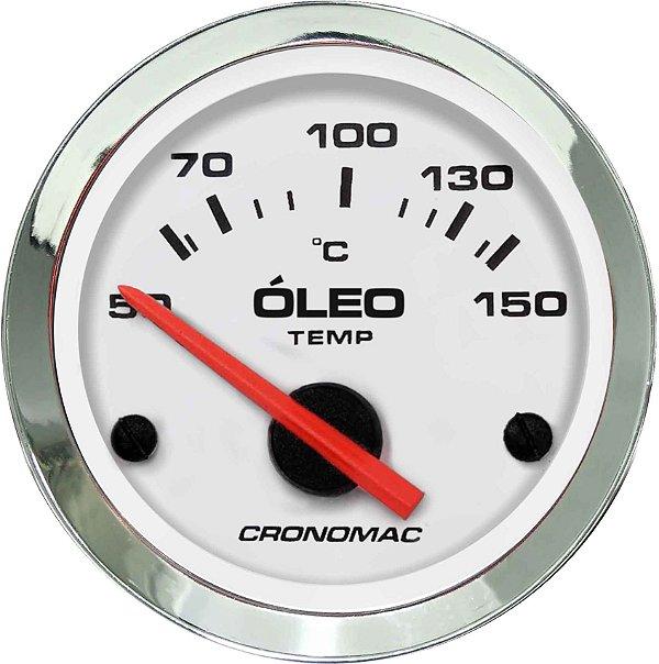 Termômetro Óleo ø52mm 12V com Sensor Cromado/Branco   Cronomac