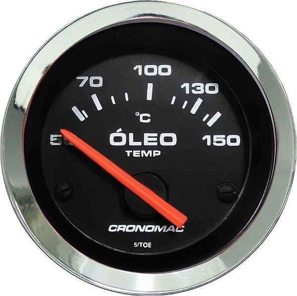 Termômetro Óleo ø52mm 12V com Sensor Cromado/Preto| Cronomac