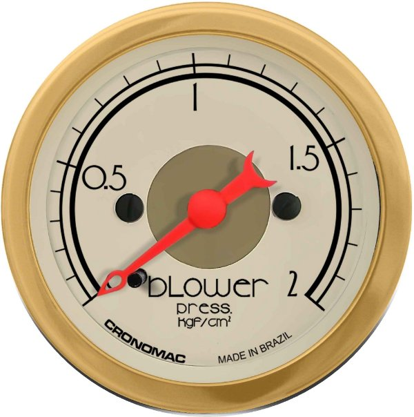 Manômetro Turbo 2KGF/CM² ø52mm Hot Gold | Cronomac