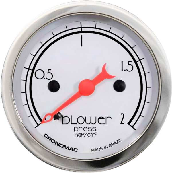 Manômetro Turbo 2KGF/CM² ø52mm Hot Silver | Cronomac