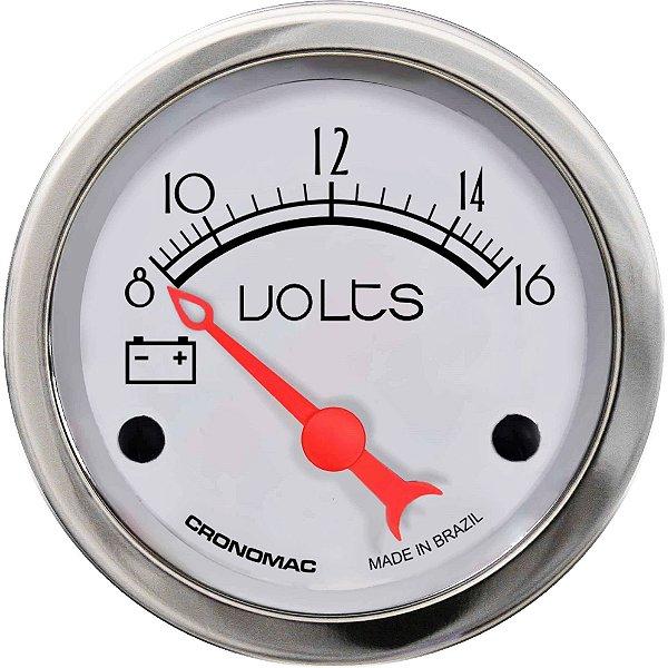 Voltímetro ø52mm 12 Volts Hot Silver | Cronomac