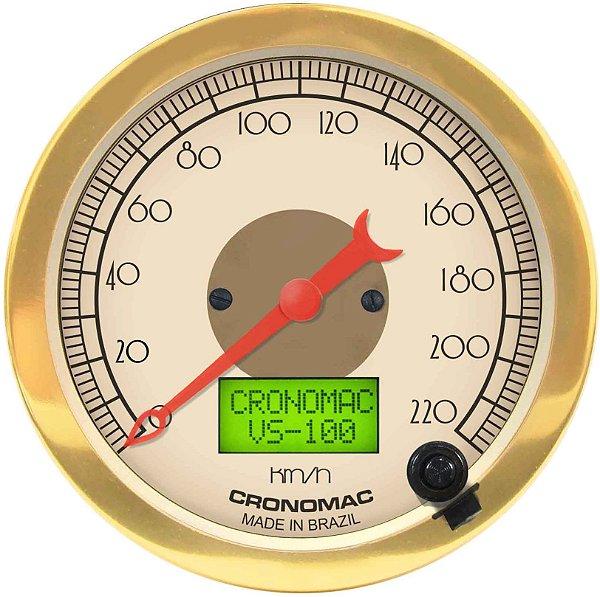 Velocímetro 220km/h ø100mm Eletrônico Hot Gold   Cronomac