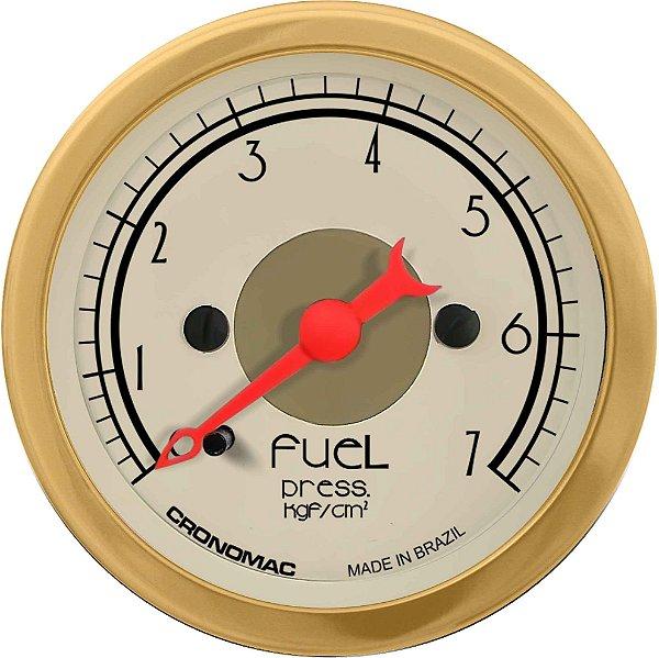 Manômetro Combustível 7KGF/CM² ø52mm Hot Gold | Cronomc