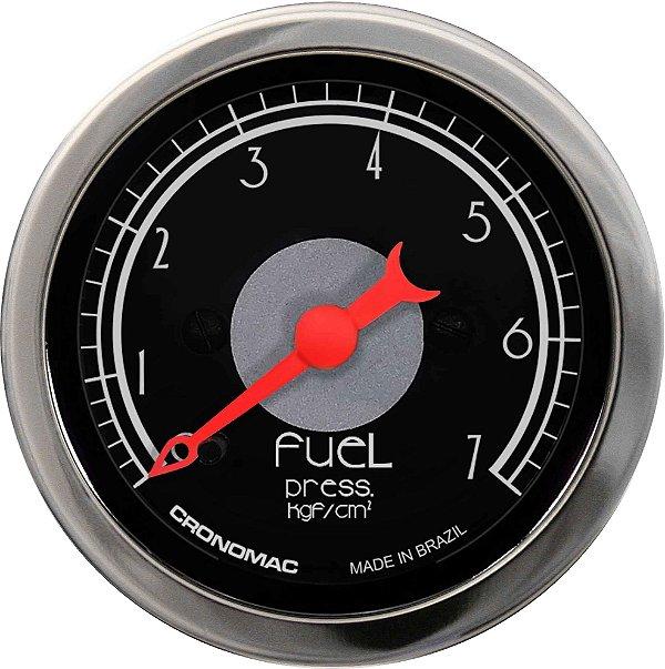 Manômetro Combustível 7KGF/CM² ø52mm Hot Black   Cronomc
