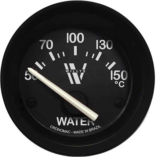 Termômetro Água ø52mm 12V com Sensor Willys   Cronomac