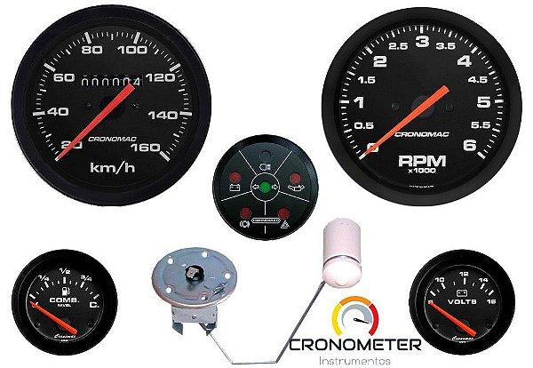 KIT 5 Instrumentos ø85mm/52mm Buggy Street/Preto STD | Cronomac