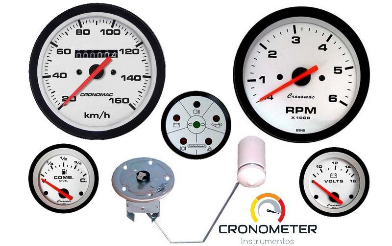 KIT 5 Instrumentos ø100mm/52mm Fusca/Buggy Street/Branco STD | Cronomac