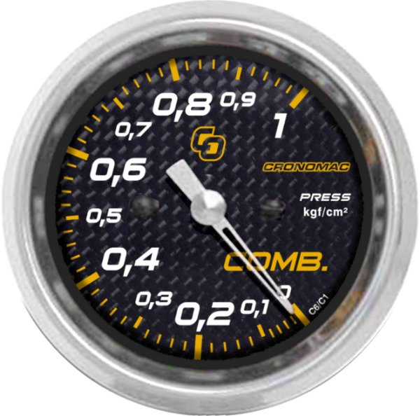 Manômetro Combustível 1KGF/CM² ø60mm Carbono   Cronomac