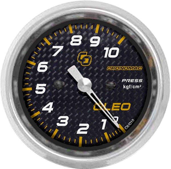Manômetro Óleo 10KGF/CM² ø60mm Carbono   Cronomac