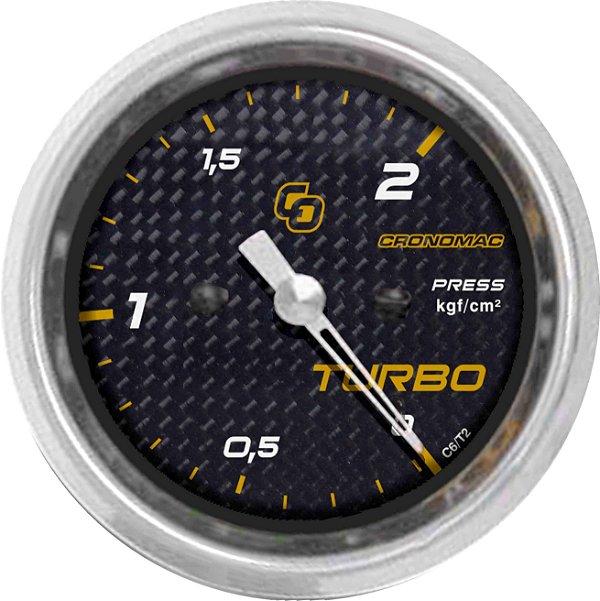 Manômetro Turbo 2KGF/CM² ø60mm Carbono | Cronomac