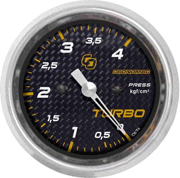 Manômetro Turbo 4KGF/CM² ø60mm Carbono | Cronomac