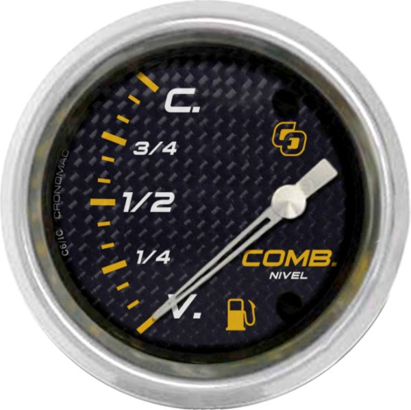 Indicador Nível de Combustível ø60mm 097 Carbono | Cronomac