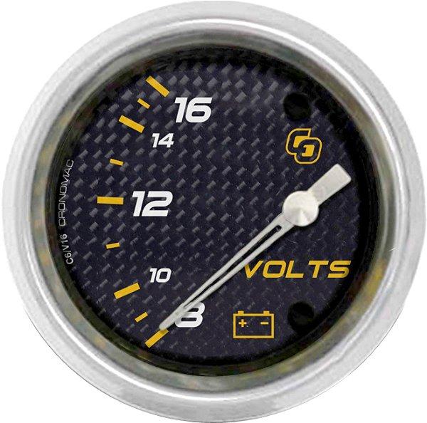 Voltímetro ø60mm 12 Volts Carbono | Cronomac
