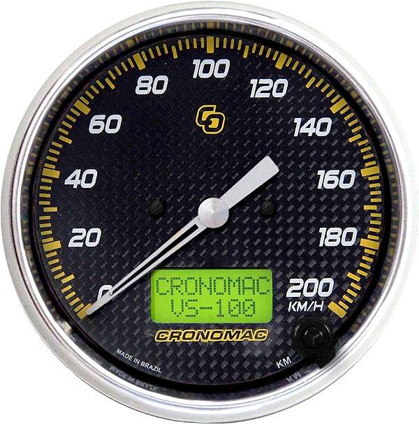 Velocímetro 200km/h ø100mm Eletrônico Carbono   Cronomac
