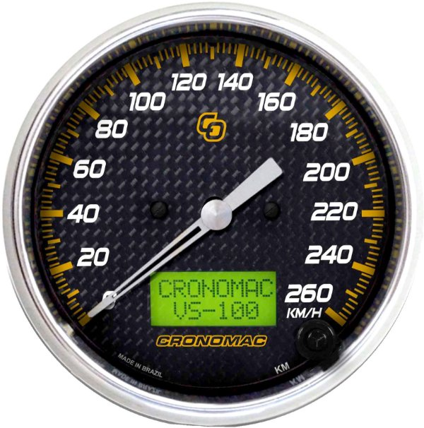 Velocímetro 260km/h ø100mm Eletrônico Carbono | Cronomac