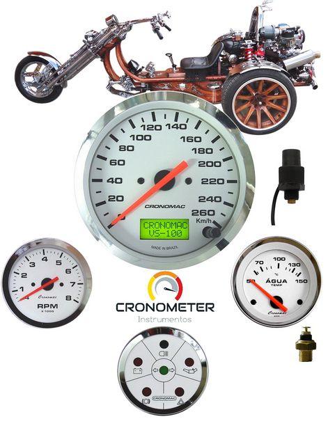 Painel Triciclo com Velocímetro Eletrônico Cromado Branco   Cronomac (299)
