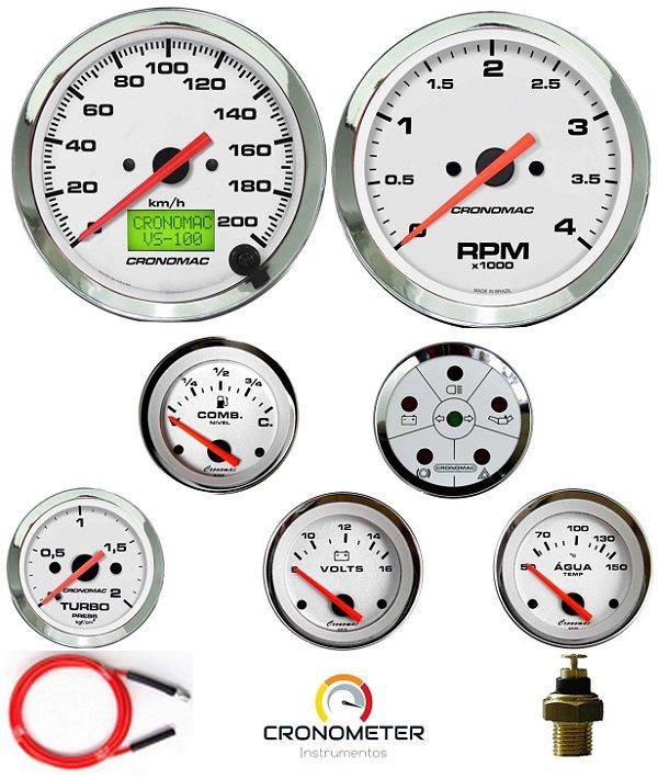 Kit 7 Instrumentos Linha Diesel - Velocímetro Eletrônico - Cromado/Branco   Cronomac (404)