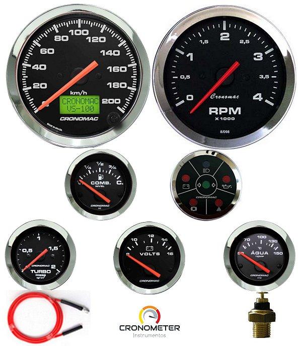 Kit 7 Instrumentos Linha Diesel - Velocímetro Eletrônico - Cromado/Preto| Cronomac (406)