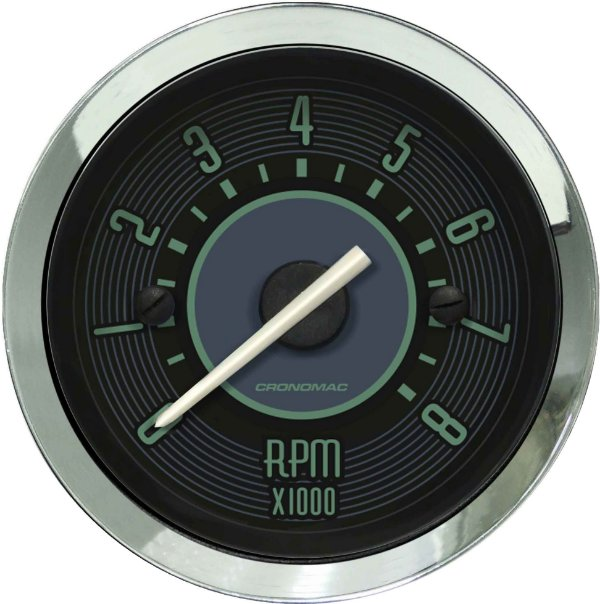 Contagiro 8000RPM ø52mm 2/4/6/8 Cil Fusca Verde| Cronomac