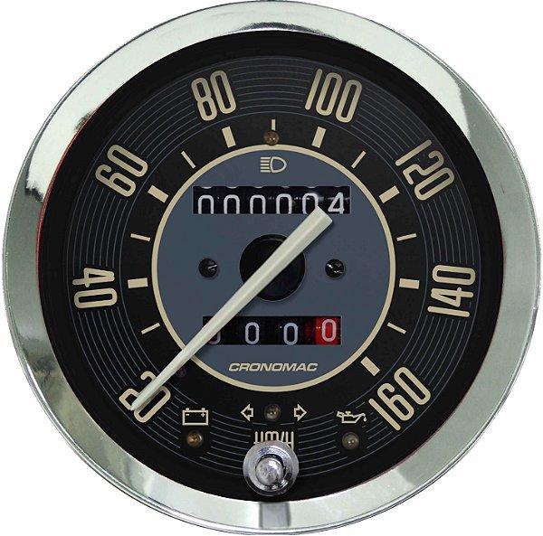 Velocímetro 160km/h ø100mm Hodom. Duplo e Sinaleira Fusca Bege | Cronomac