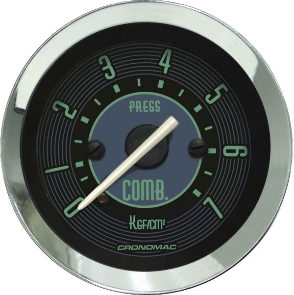 Manômetro Combustível 7KGF/CM² ø52mm Fusca Verde | Cronomac